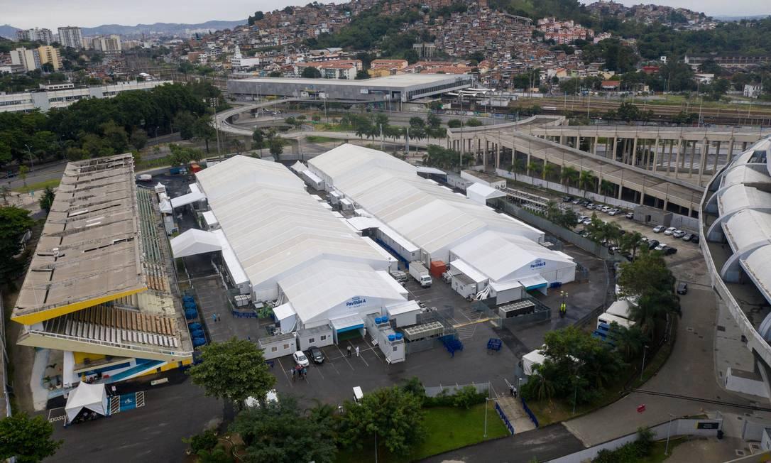 Hospital de campanha do Maracanã: único entregue pela Iabas Foto: Brenno Carvalho / Agência O Globo