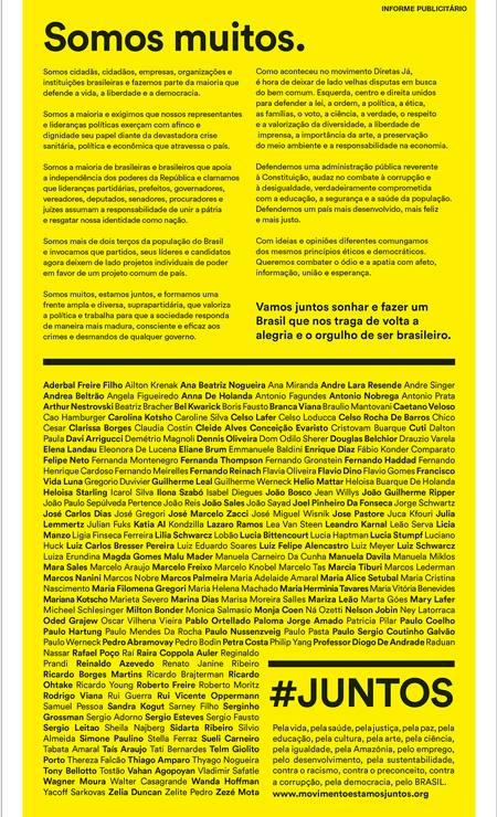 Manifesto publicado neste sábado no GLOBO Foto: Reprodução
