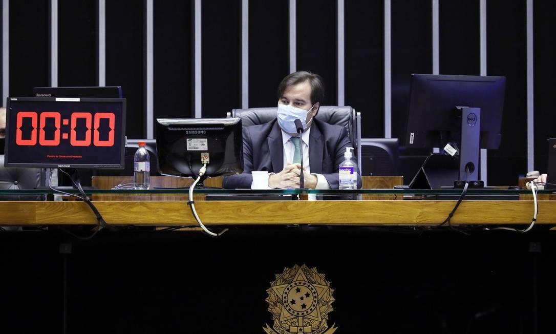 Rodrigo Maia (DEM-RJ) preside sessão na Câmara dos Deputados Foto: Maryanna Oliveira/Câmara dos Deputados / Agência O Globo
