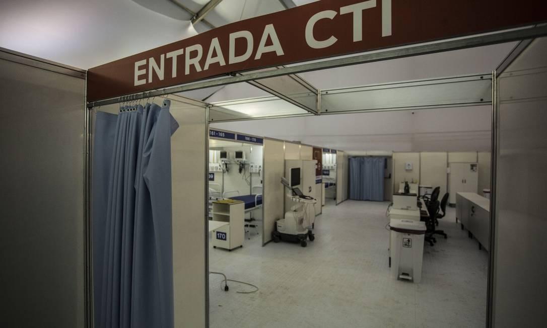 Hospital de campanha no Rio de Janeiro Foto: Guito Moreto / Agência O Globo