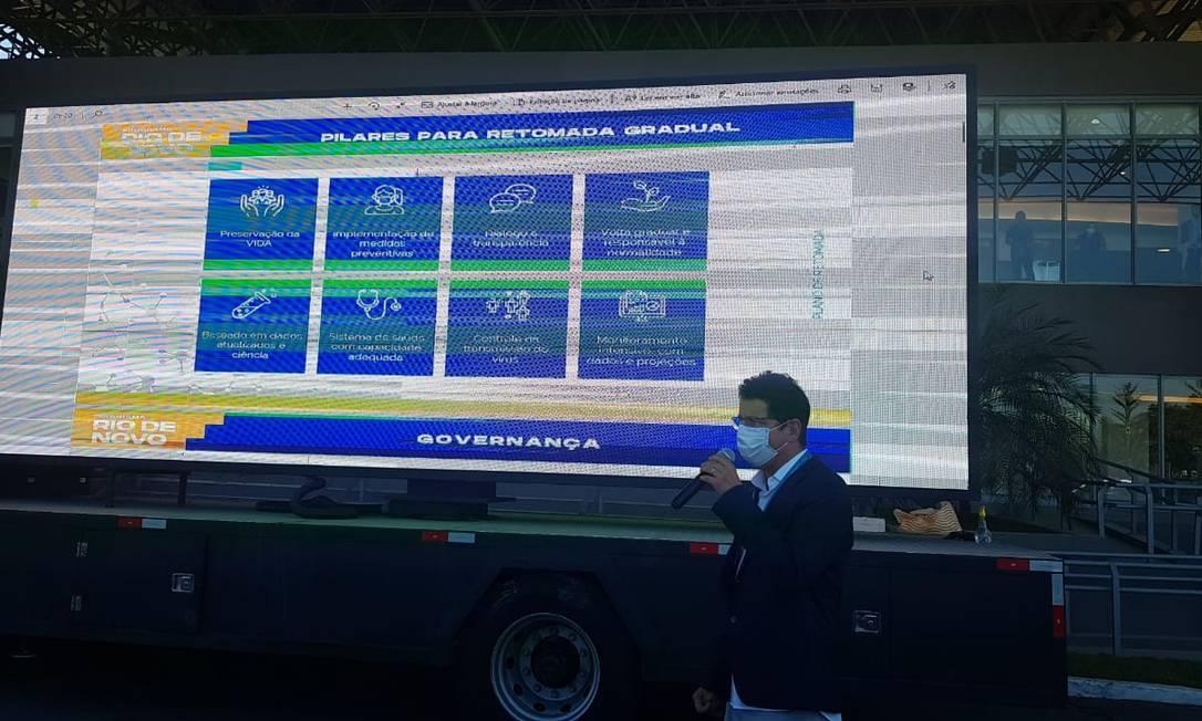 Flavio Graça, superintendente da Vigilância Sanitária, apresenta o plano de reabertura da economia do Rio Foto: Luiz Ernesto Magalhães