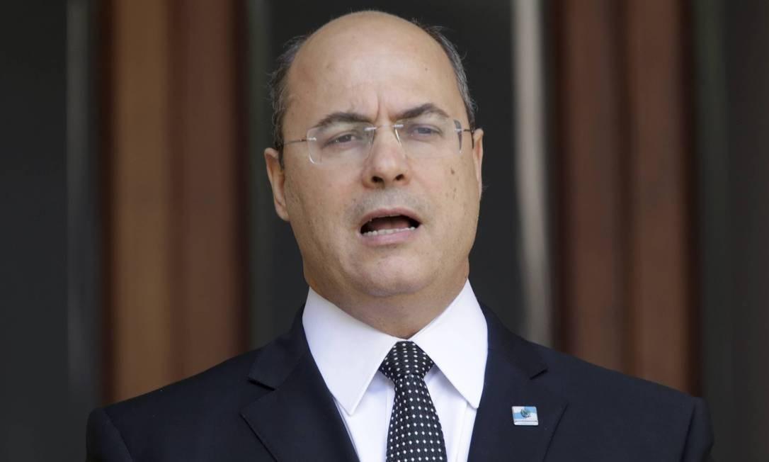 O governador do estado do RJ, Wilson Witzel durante pronunciamento Foto: Domingos Peixoto / Agência O Globo