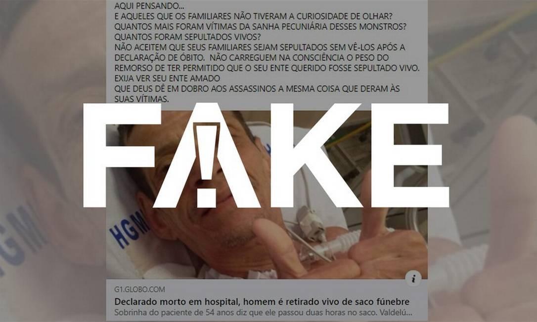 É #FAKE que homem foi colocado vivo em saco fúnebre na BA para inflar mortes por coronavírus Foto: Reprodução