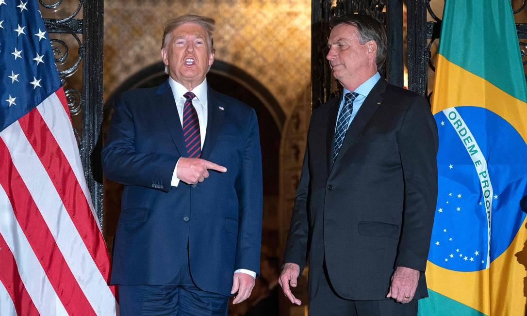O presidente dos Estados Unidos, Donald Trump, e o presidente Jair Bolsonaro Foto: JIM WATSON / AFP