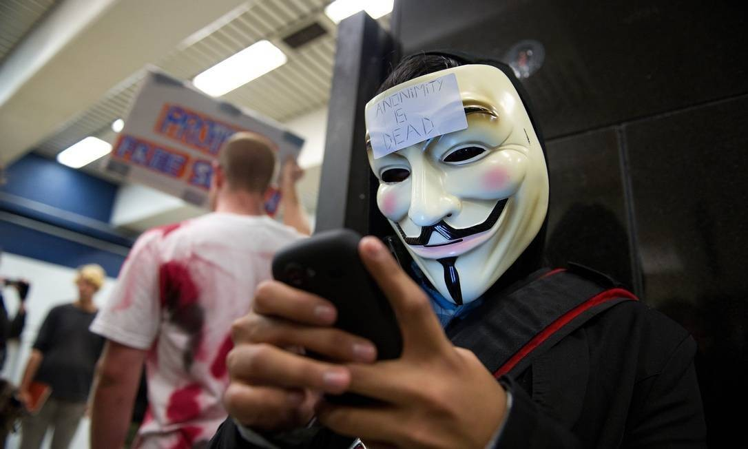 Membro do grupo Anonymous Foto: David Paul Morris / Bloomberg