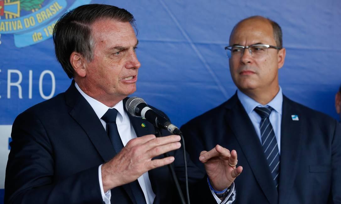 O presidente Jair Bolsonaro e o governador do Rio de Janeiro, Wilson Witzel, durante evento no Rio de Janeiro em 2019 Foto: Pablo Jacob/Agência O Globo/08-05-2019
