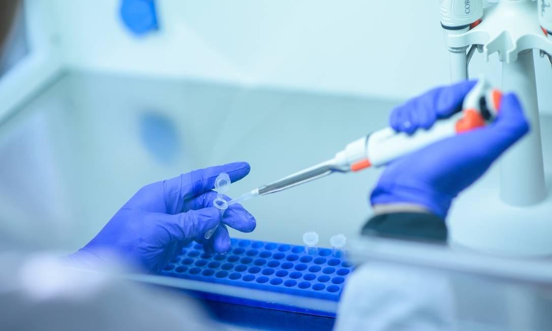 A vacina Covid-eVax contra o novo coronavírus que já se encontra em produção para testes em humanos a partir do final de setembro Foto: Cristobal Marambio / Getty Images