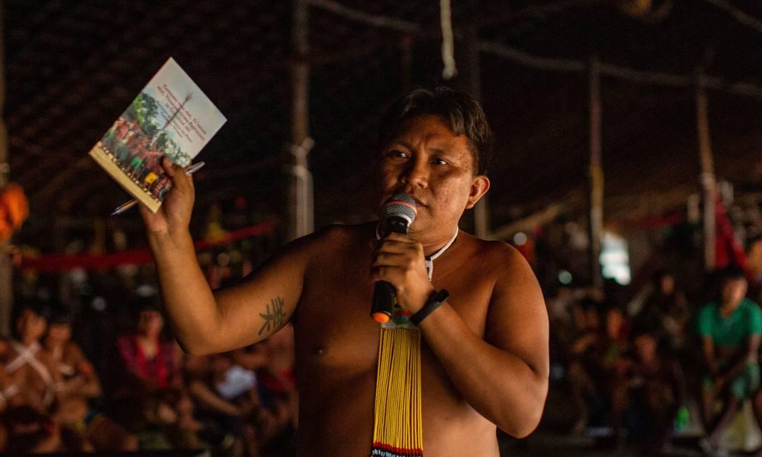 Dário Kopenawa durante o Forum das Lideranças Yanomami, em novembro de 2019 Foto: Victor Moriyama / ISA