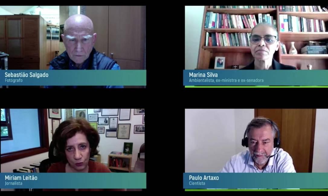 Sebastião Salgado, Marina Silva, Míriam Leitao e Paulo Artaxo debatem futuro ambiental pós-pandemia Foto: Reprodução