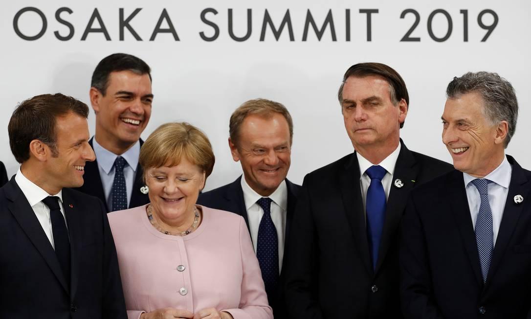 O acordo Mercosul-UE foi anunciado na cúpula de chefes de Estado do G-20 em 2019, com a presença do presidente Jair Bolsonaro Foto: Jorge Silva / Reuters
