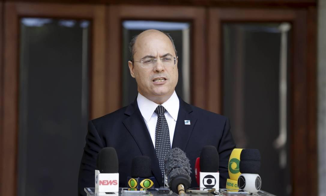 Governador Wilson Witzel durante pronunciamento após operação da Policia federal no Palácio das Laranjeiras em maio Foto: Domingos Peixoto 26-05-2020 / Agência O Globo