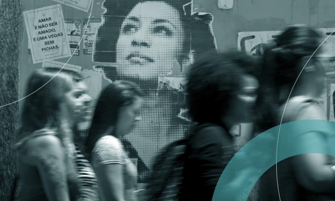 Rosto de Marielle Franco em cartaz pregado em parede na Praça Maracanã Foto: Márcia Foletto/Agência O Globo