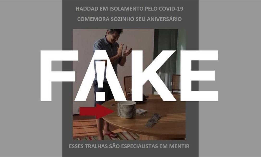 É #FAKE que Fernando Haddad fez festa de aniversário com vários convidados no meio da quarentena Foto: Reprodução
