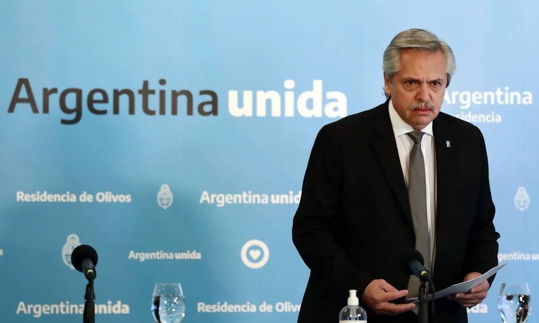 Presidente da Argentina Alberto Fernández Foto: ALEJANDRO PAGNI / AFP