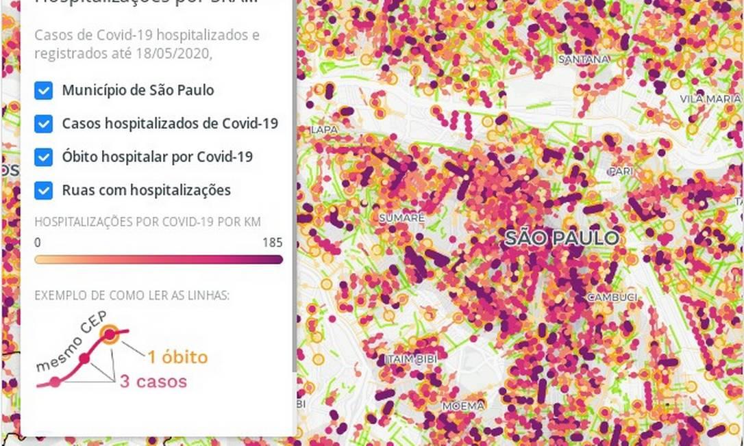 Informações sobre CEPs de casos de Covid-19 permitem que a incidência da doença seja georreferenciada Foto: Reprodução/Labcidade