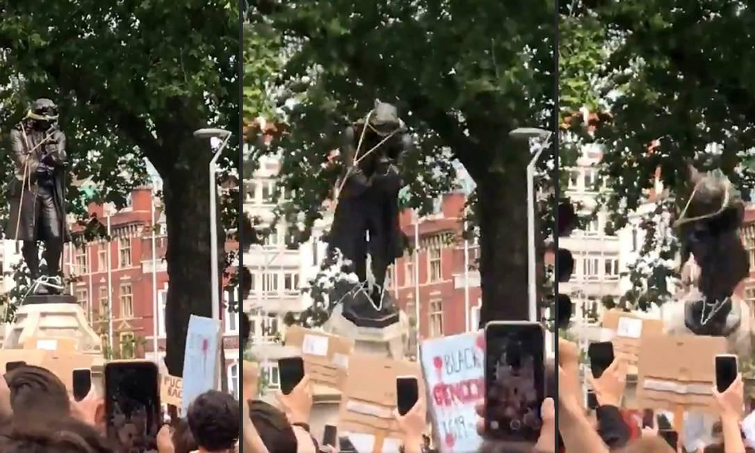 Debate sobre as estátuas que homenageiam escravocratas ganhou força depois que manifestantes de Bristol, no sudoeste da Inglaterra, derrubaram, no domingo, a estátua de Edward Colston, um traficante de escravos do século 17 Foto: - / AFP