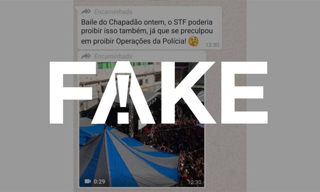 É #FAKE que vídeo mostre baile funk e ninguém com máscara em favela do Rio após decisão do STF de proibir operações policiais Foto: Reprodução