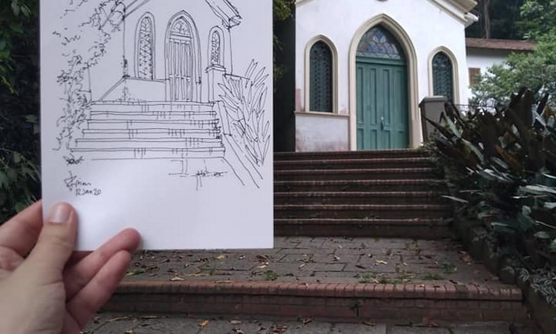 Luciana Lima também esteve no Parque da Cidade, na Gávea, e desenhou uma capela do local Foto: Divulgação/USK Rio