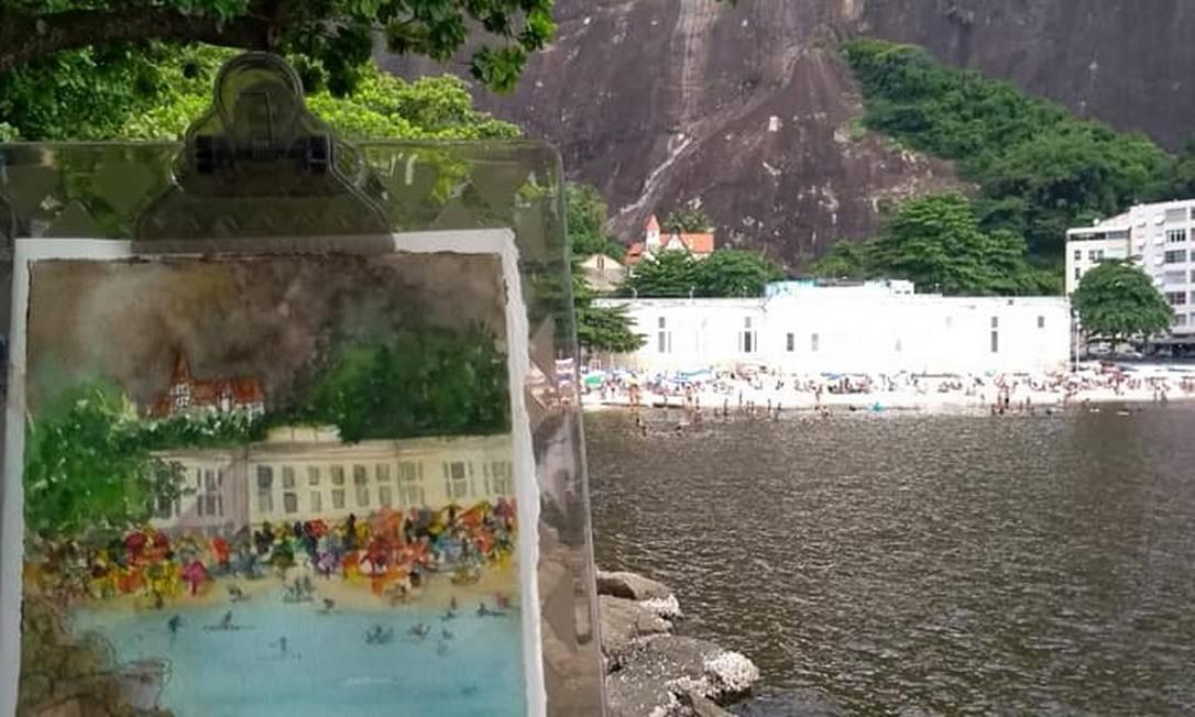 Marcia Quintela pincelou um detalhe da Praia da Urca Foto: Divulgação/USK Rio