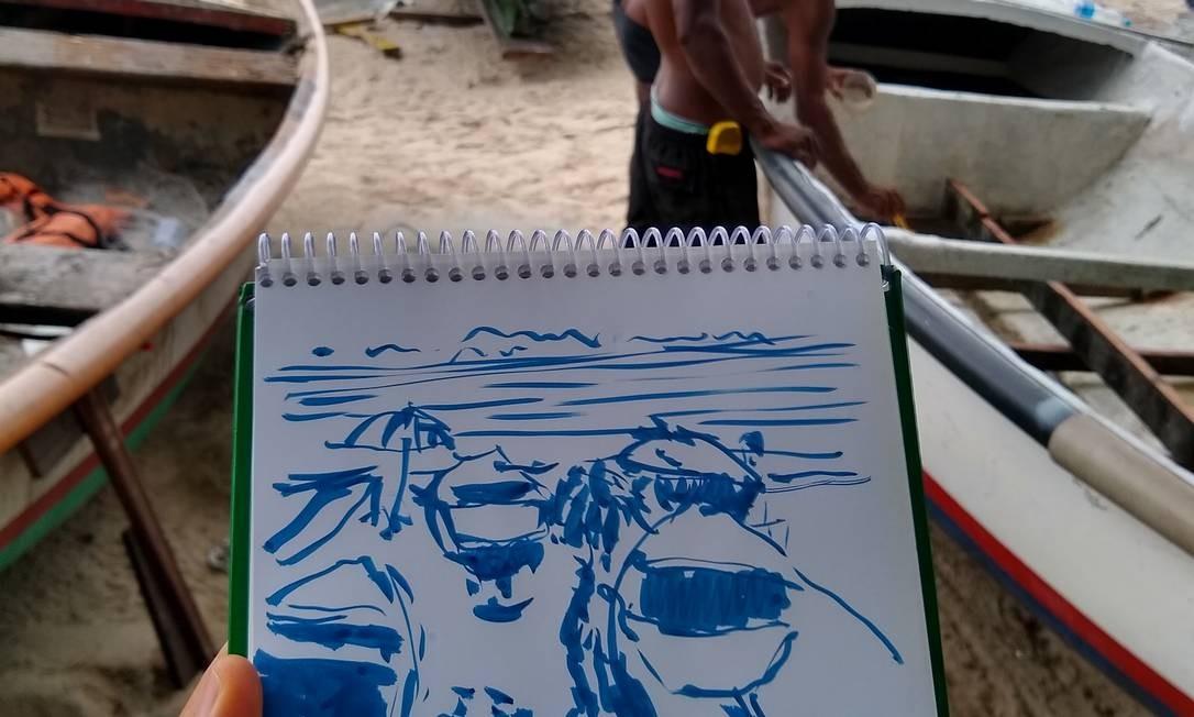 Francisco Leocádio desenhou o movimento do Posto 6 da Praia de Ipanema durante o Dia de Iemanjá Foto: Divulgação/USK Rio