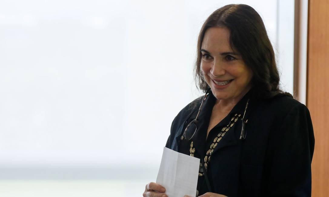 Regina Duarte em maio de 2020, durante reunião com o ministro Marcelo Álvaro Antônio, do Turismo Foto: Isac Nóbrega/PR
