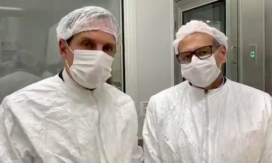 Doria anuncia produção de vacina contra coronavírus ao lado de Dimas Covas Foto: Reprodução/Twitter