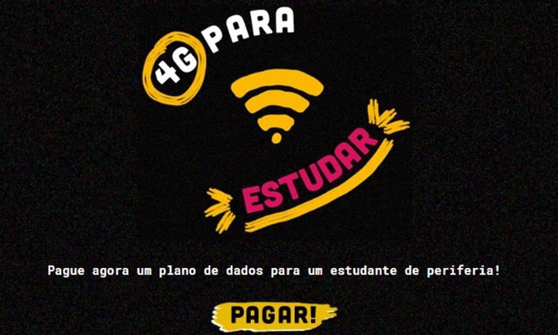 Campanha '4G para estudar' Foto: Reprodução da web