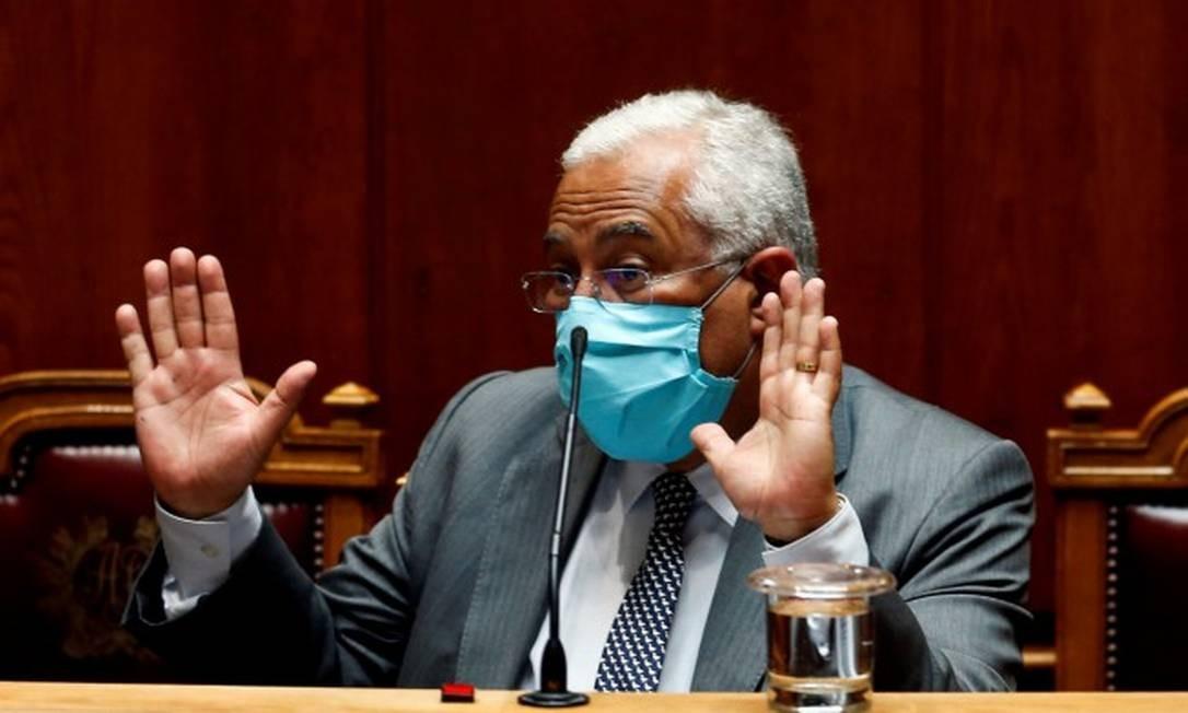 Primeiro-ministro português, António Costa, gesticula durante debate no Parlamento Foto: Rafael Marchante / REUTERS / 7-5-2020