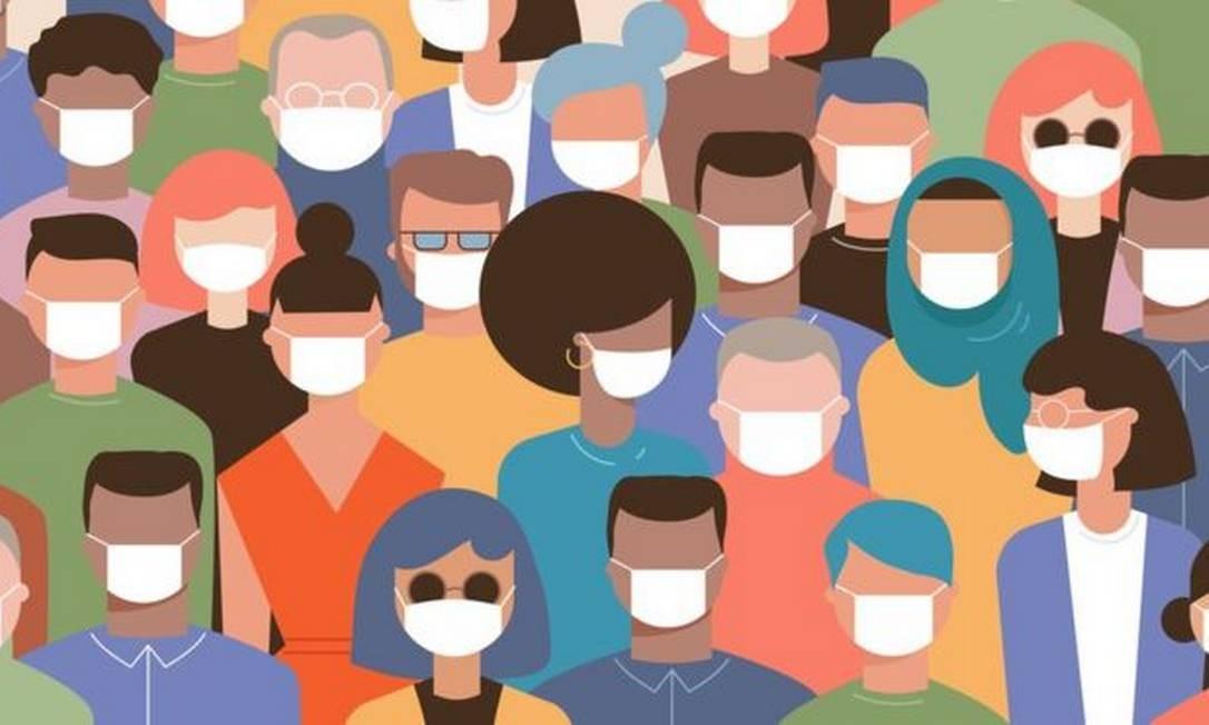 As máscaras são indispensáveis em ambientes onde há muita gente Foto: Getty Images