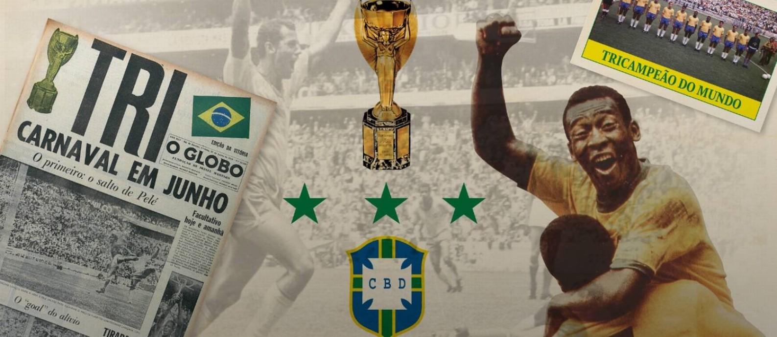 Brasil tricampeão mundial em 1970 Foto: Arte O Globo