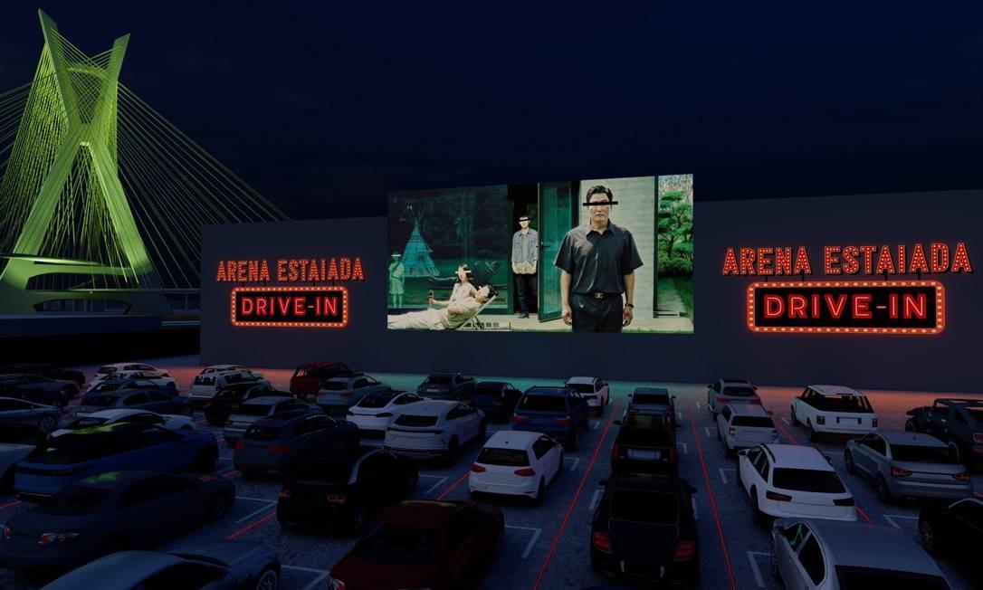 Projeto arquitetônico do cinema Arena Estaiada Drive-In, na marginal Pinheiros, em São Paulo Foto: Divulgação