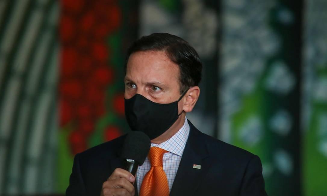 Governador de São Paulo, João Doria, anuncia medidas de enfrentamento ao coronavírus no estado Foto: Divulgação/Governo do Estado de São Paulo