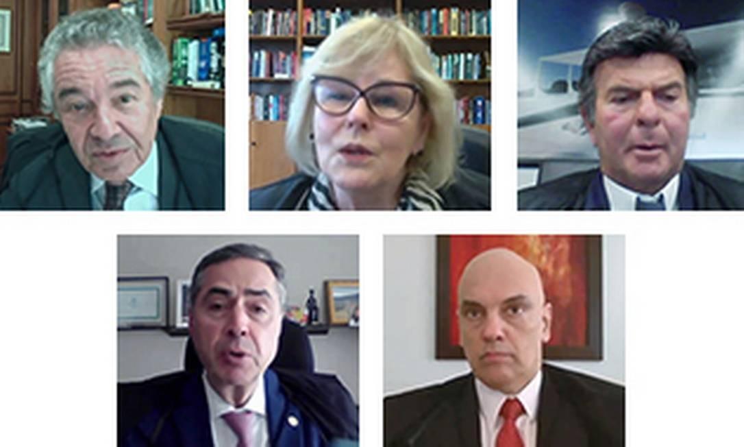 Ministros do Supremo Tribunal Federal em sessão remota Foto: Reprodução