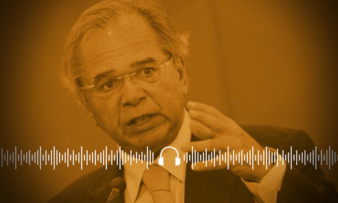 Ministro Paulo Guedes quer retomar plano de privatizações ainda este ano Foto: Arte