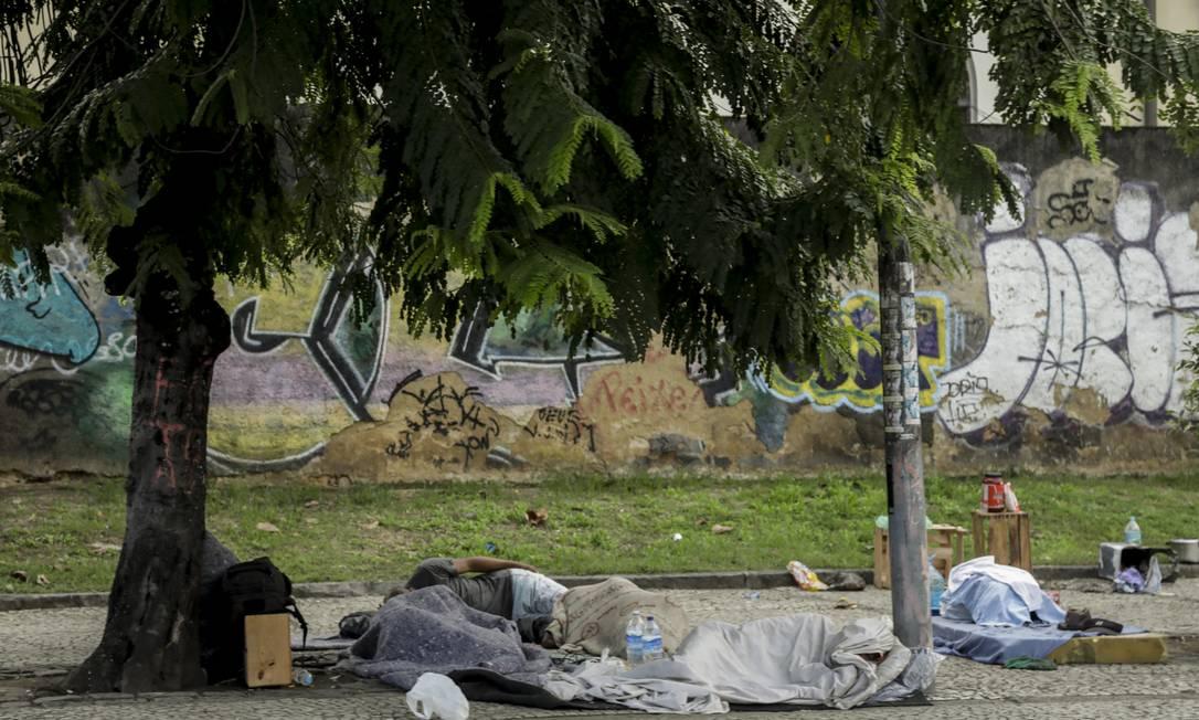 RI Rio de Janeiro (RJ) 16/06/2020 - Pandemia de corona vírus : moradores em situação de rua são vulneráveis ao COVID-19 . Lapa, próximo aos Arcos. Foto de Gabriel de Paiva/ Agência O Globo Foto: Gabriel de Paiva / Agência O Globo