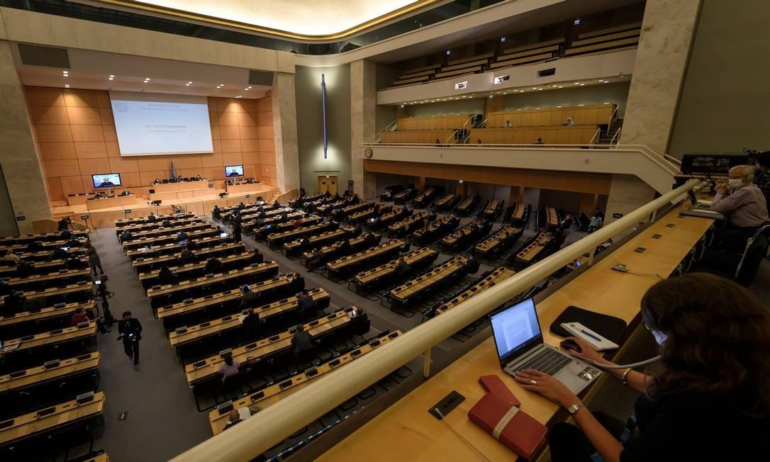 Plenário do Conselho de Direitos Humanos da ONU, em Genebra Foto: FABRICE COFFRINI / AFP