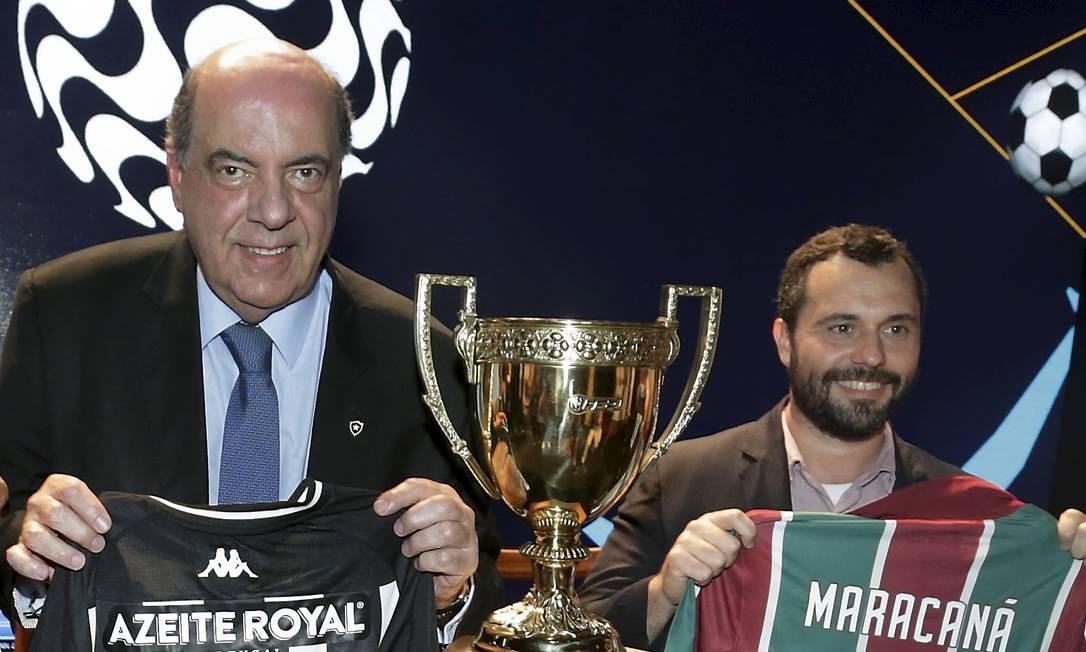 Nelson Mufarrej e Mário Bittencourt, presidentes de Botafogo e Fluminense Foto: Marcelo Theobald / Agência O Globo