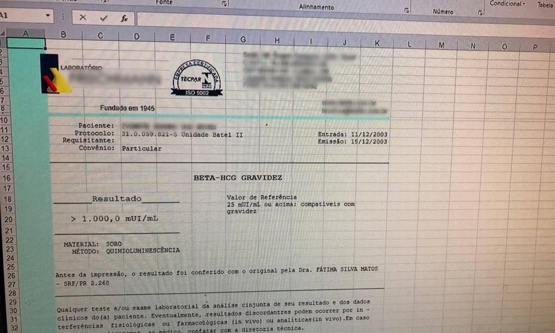 Exame de gravidez falsificado foi encontrado entre os arquivos Foto: Divulgação