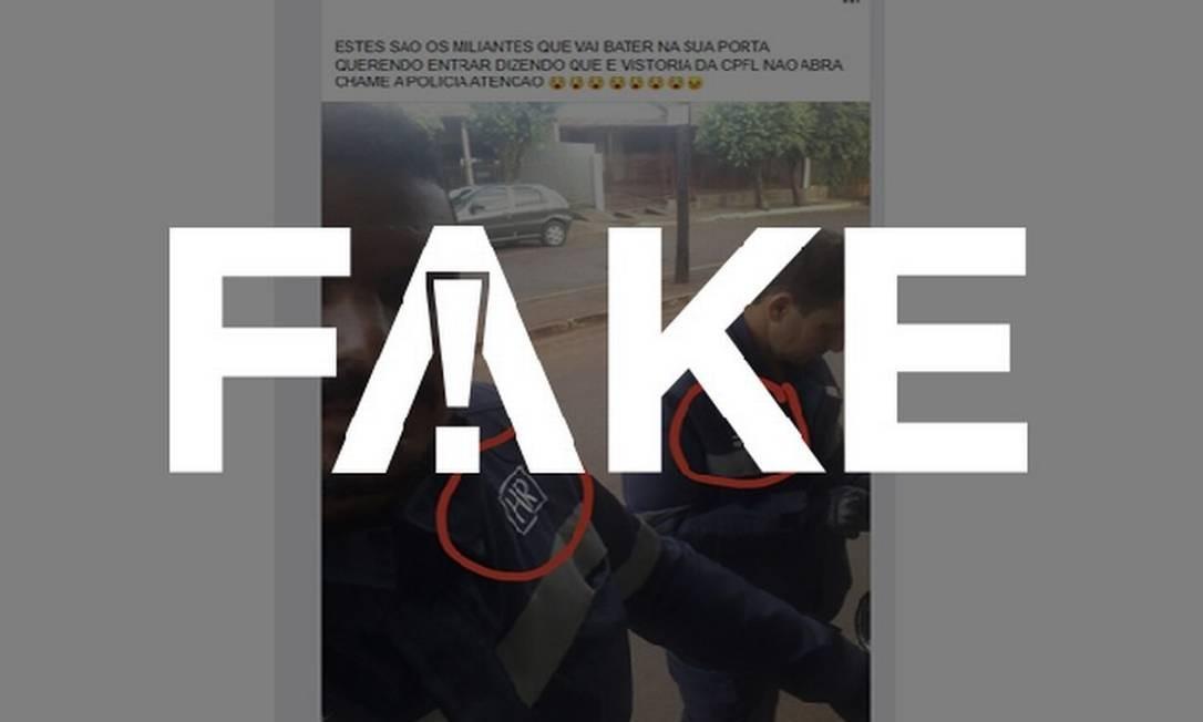 É #FAKE que foto mostre criminosos se passando por eletricistas no meio da pandemia do coronavírus Foto: Reprodução