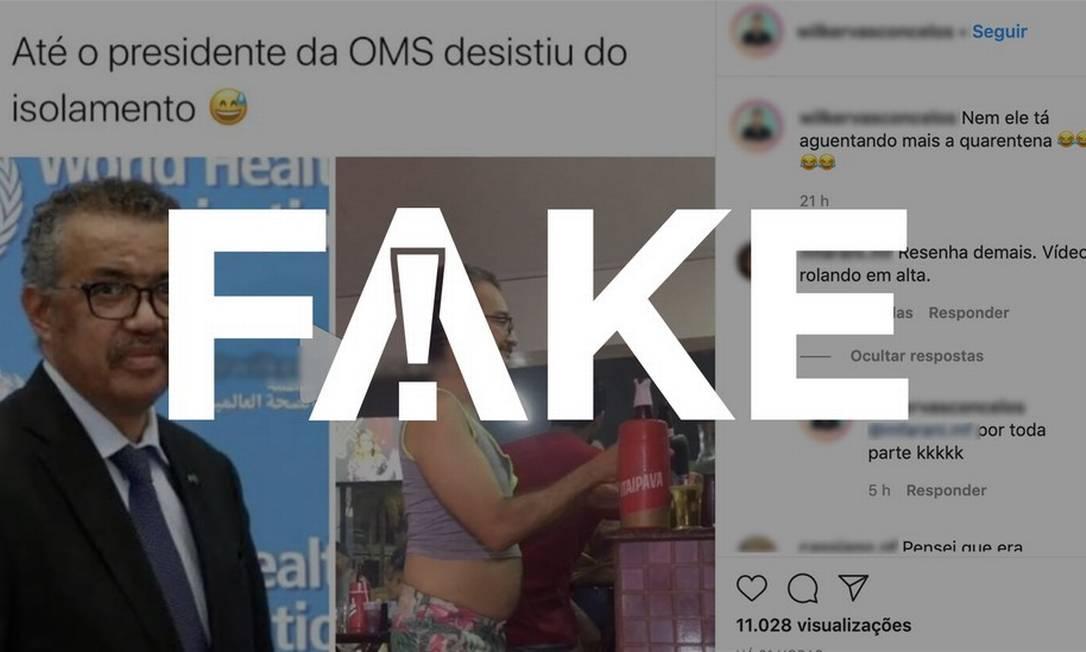 É #FAKE que vídeo mostre diretor-geral da OMS dançando em bar durante o isolamento social Foto: Reprodução