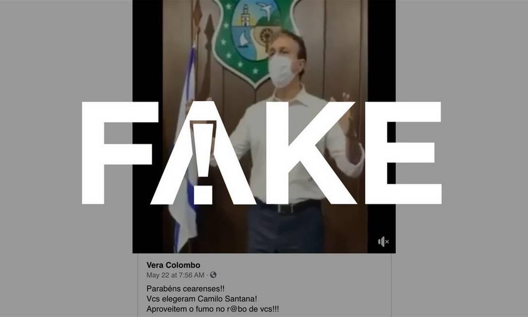 É #FAKE que governador do Ceará usa palavras chulas para se referir a decreto de isolamento social em vídeo Foto: Reprodução