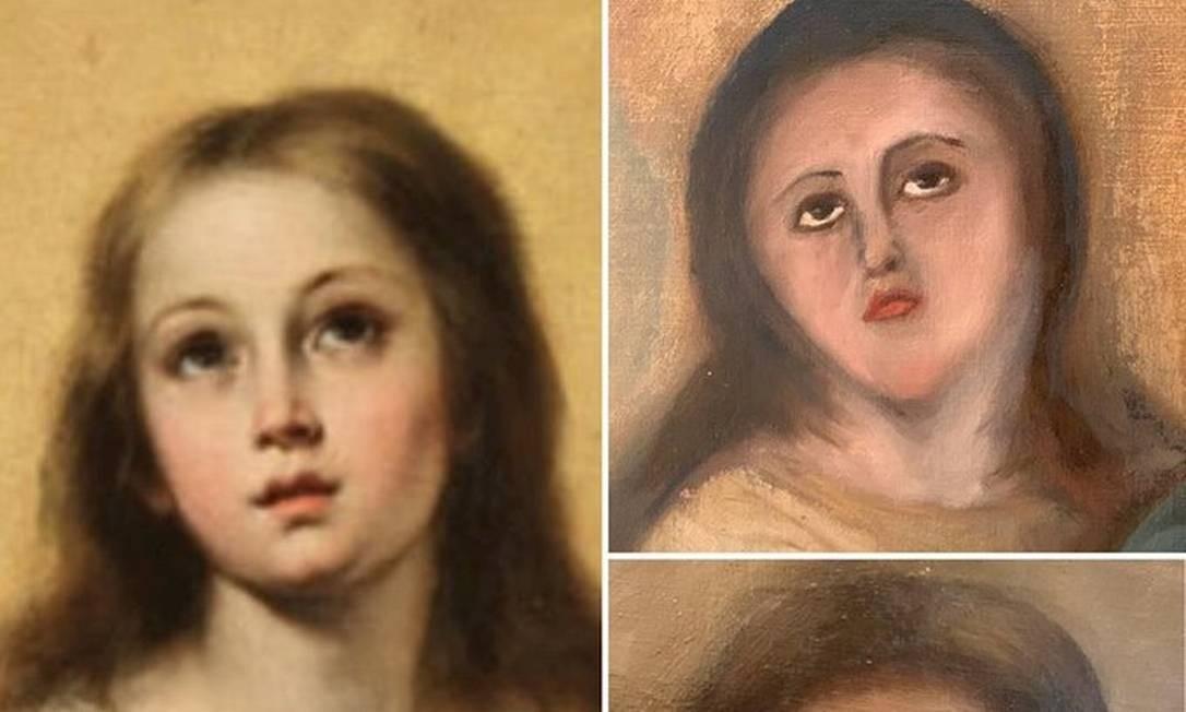 À esquerda, a versão original da pintura de Murillo. Ao lado, resultados de 'restauração' Foto: Reprodução
