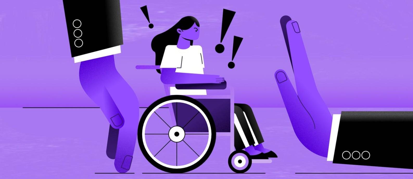 """O preconceito contra pessoas com deficiência tem muitas camadas, passando pela discriminação explícita até situações mais implícitas, como o """"discurso de superação"""" Foto: Arte de Ana Luiza Costa"""