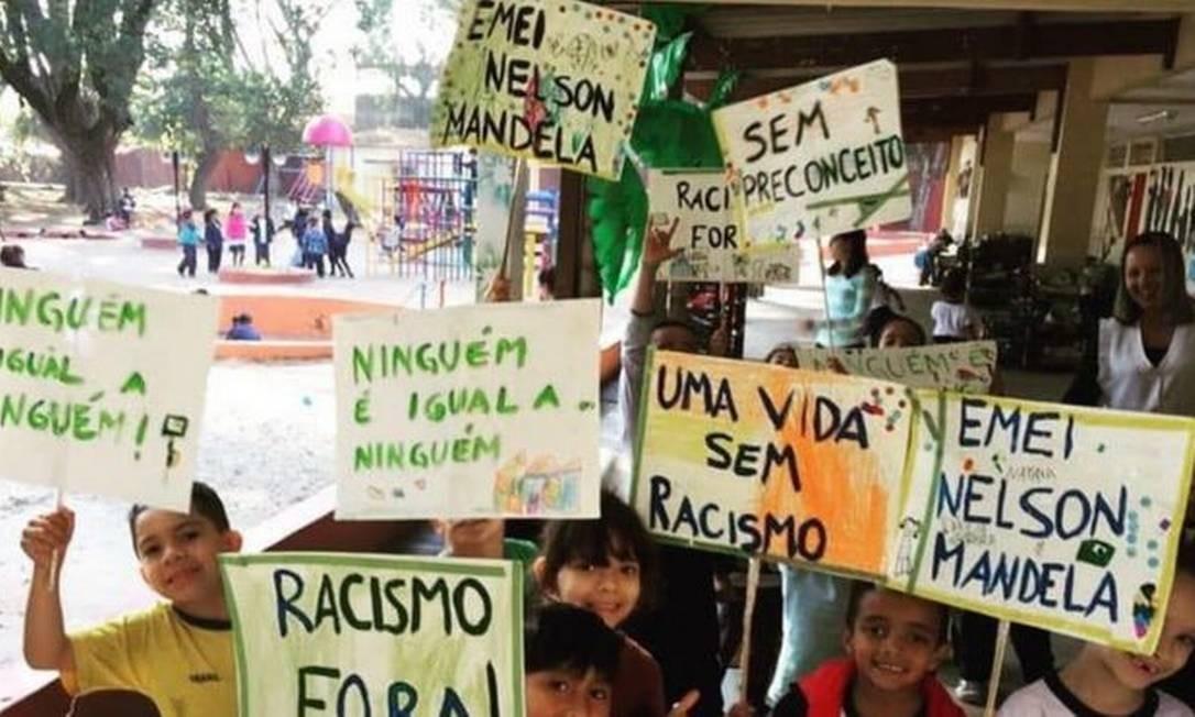 Emei Nelson Mandela é considerada referência em educação antirracista Foto: ARQUIVO PESSOAL/EMEI NELSON MANDELA