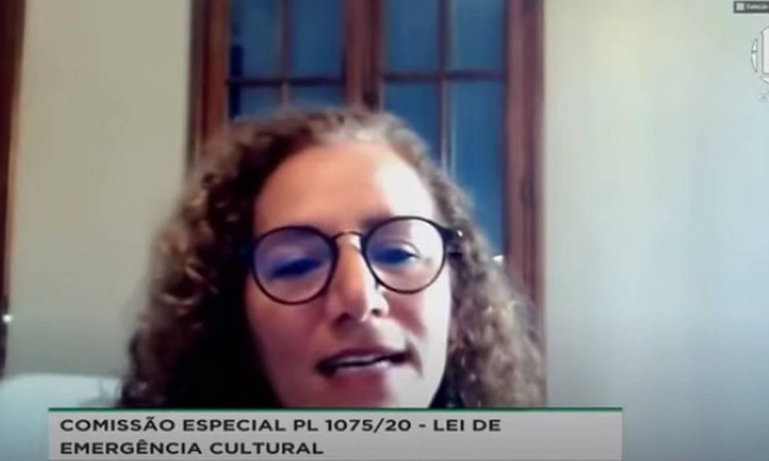 Deputada federal Jandira Feghali participou de videoconferência para tratar da Lei Aldir Blanc nesta quarta-feira Foto: Reprodução
