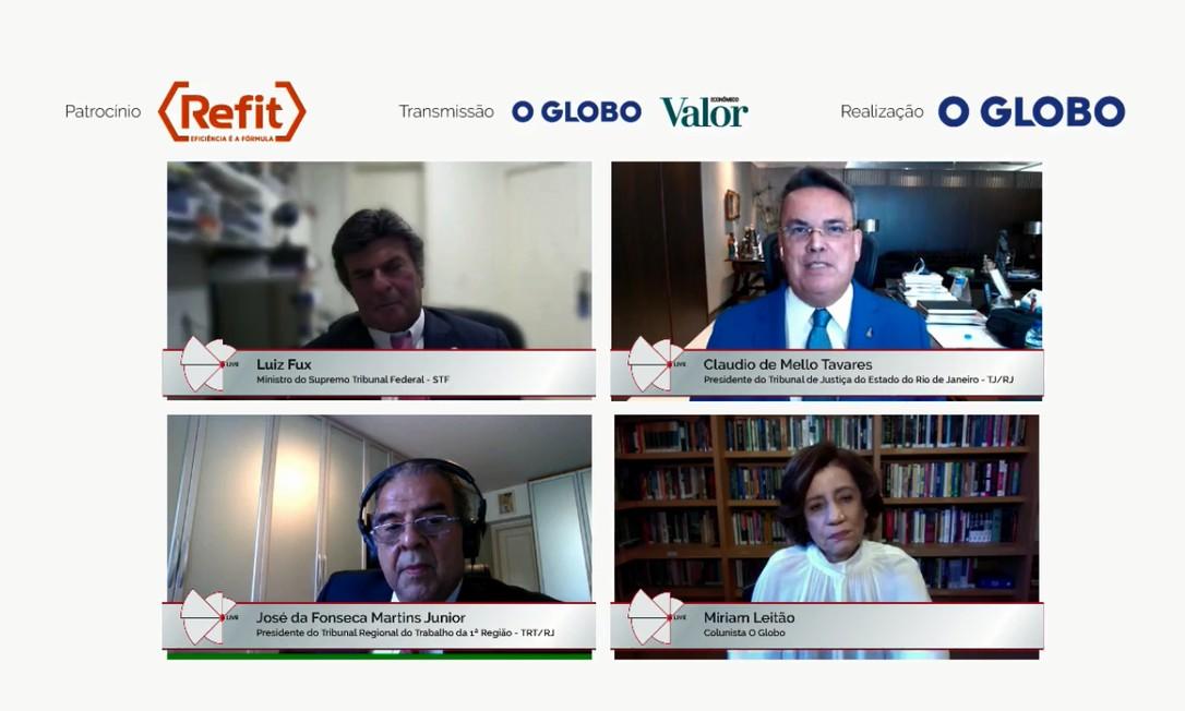 Luiz Fux, Claudio de Mello Tavares, Míriam Leitão e José da Fonseca Martins Junior durante webinar Foto: Reprodução
