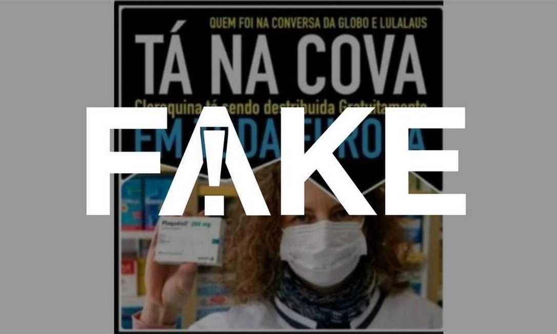 É #FAKE que cloroquina seja distribuída gratuitamente por toda a Europa Foto: Reprodução