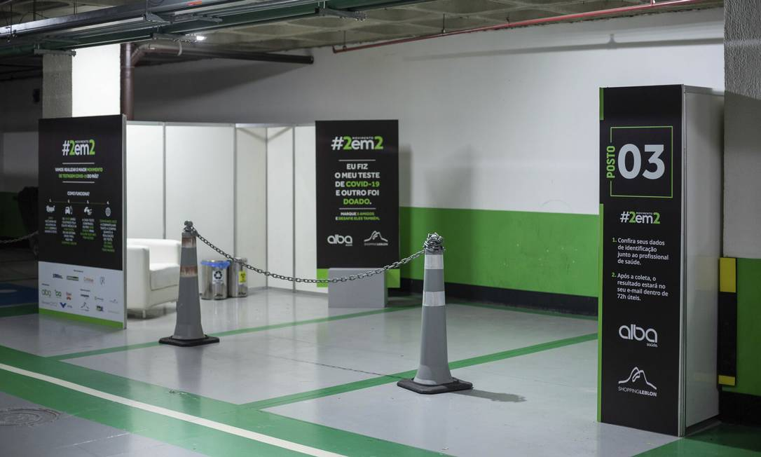 Posto de atendimento para teste da Covid-19 no estacionamento do Shopping Leblon Foto: Divulgação