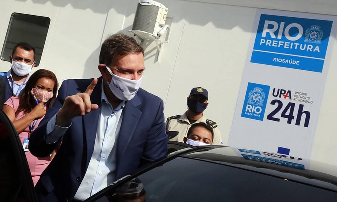 Crivella, durante reinauguração de UPA em Madureira, onde afirmou que benfício foi suspenso a mando do MP Foto: Divulgação / Prefeitura do Rio