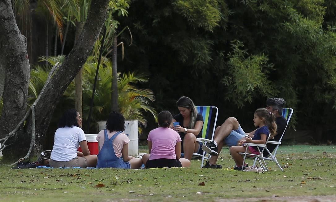 Grupo faz piquenique no Parque das Figueiras, na Lagoa Foto: FABIANO ROCHA / Agência O Globo